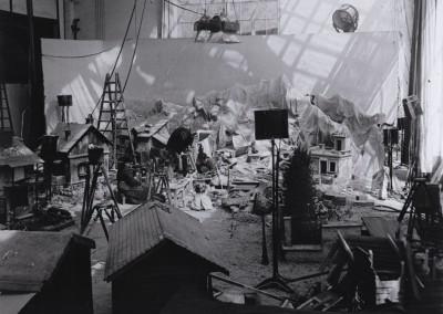 Décor d'un plateau à la Victorine - Photographie noir et blanc, mai 1976.