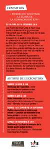 Verso du Marque page de l'exposition Pierres du souvenir
