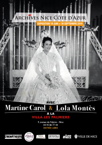 Affiche de l'exposition Avec Martine Carol et Lola Montès à la villa « Les Palmiers »