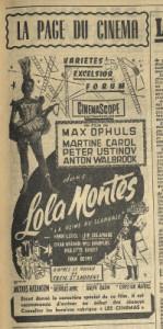 Encart pour le film Lola Montès, Nice-matin