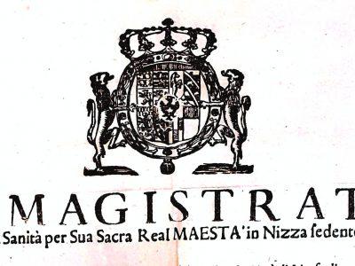 Détail du sceau du magistrat de santé de Nice, 1720