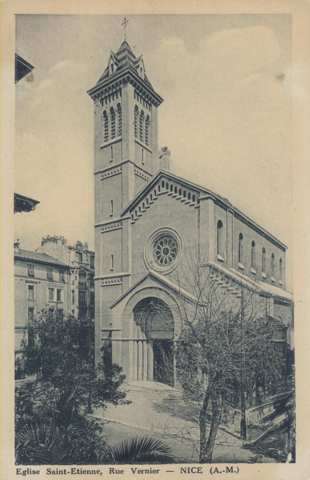 L'église Saint-Etienne de Nice : carte postale ancienne