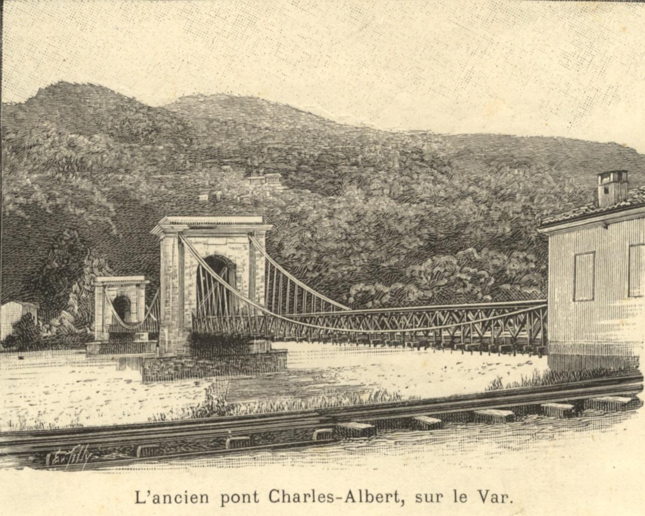 L'ancien pont Charles-Albert sur le Var