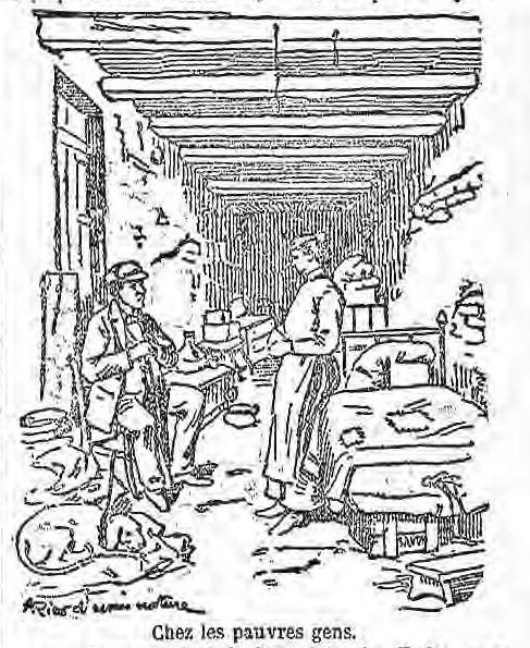 La rue de la Providence : maisons délabrées, enfants jouant près de la fontaine-lavoir, linge séchant aux fenêtres