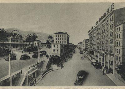 Après guerre, la gare SNCF et l'hôtel de Bruxelles